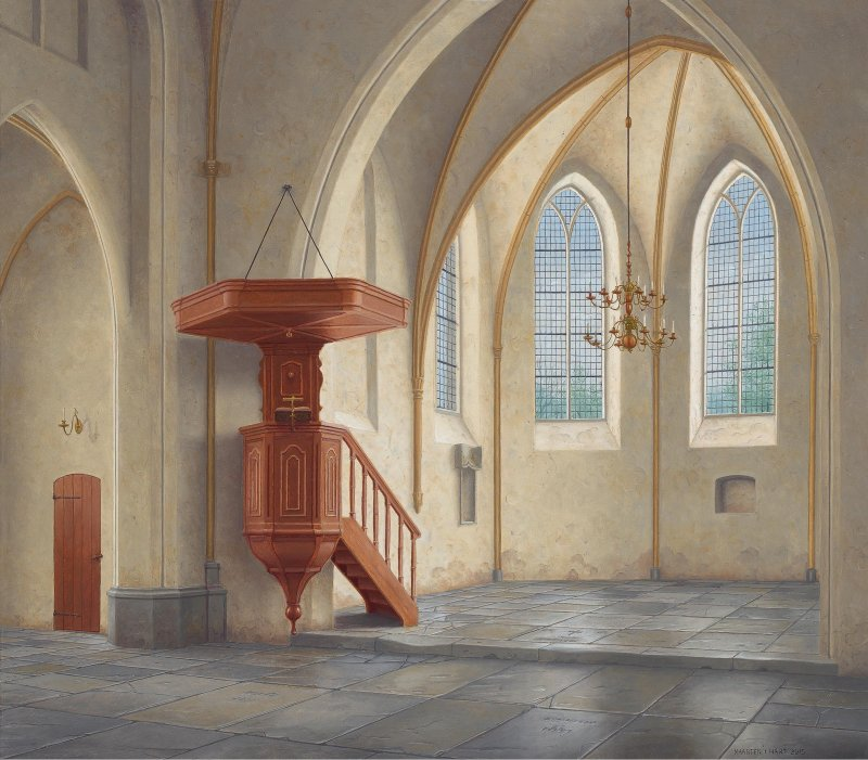 Interieur kerk te Diever naar het koor