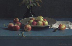 Stilleven met appels en tinnen bord