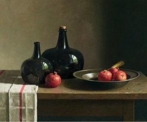 Stilleven met granaatappels en schaal