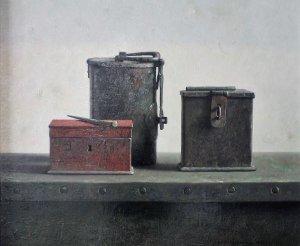 Stilleven met metalen voorwerpen