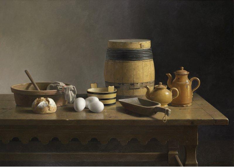 Stilleven met okerkleurige ton, eieren, thee- en koffiepot