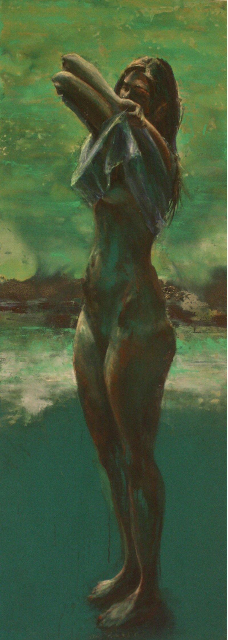 Vrouw in groen landschap