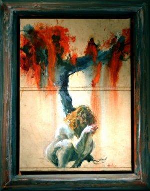 Vrouw met rode boom