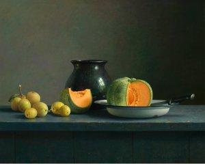 Compositie met meloen en pruimen