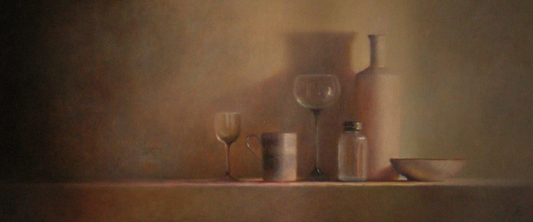 Glas en porselein-stilleven