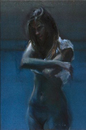 Naakt op donkerblauw