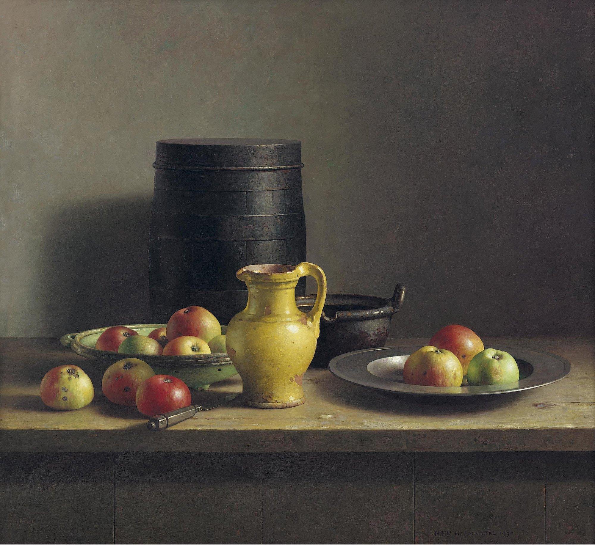 Stilleven met ton en appels